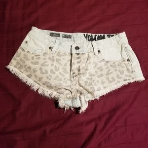 cheetah print jean shorts